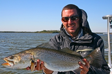 trophy speckled trout caught in mosquito lagoon